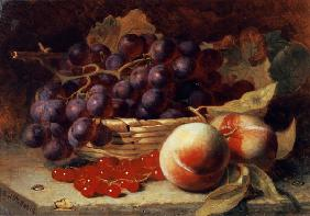A still life of red currants, peaches and grapes in a basket