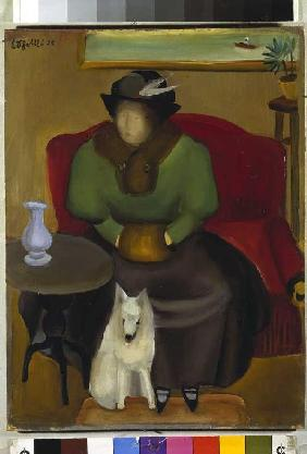 Woman in the fur with dog.