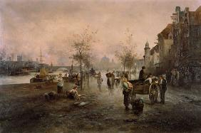 Market scene on the river shore (Vienna)