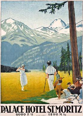 Poster advertising the Palace Hotel at St. Moritz