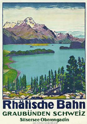 Poster advertising travel to Graubunden by the Swiss company 'Rhaetian Railway'