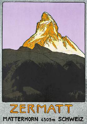 Poster advertising Zermatt, Switzerland