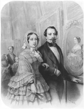 Queen Victoria and Napoleon III Emperor of France, visiting the art gallery of the Universel Exhibit