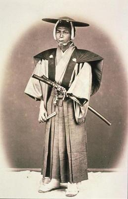 Japanese Court Official or Samurai, c.1870s (hand-coloured albumen print)