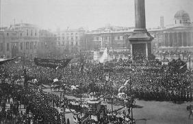 Queen Victoria (1819-1901) being driven through Trafalgar Square during her Golden Jubilee celebrati