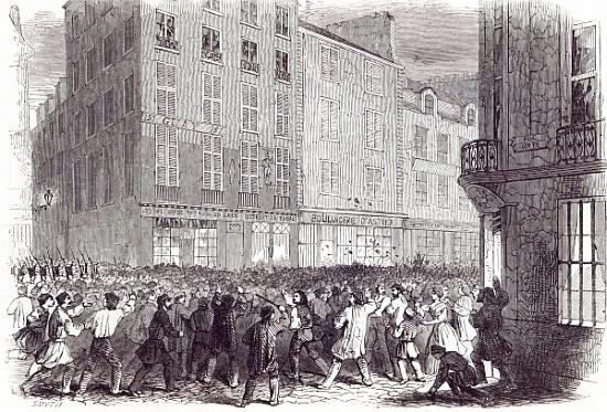 Bread riot in the rue du faubourg st a english school as art print or hand painted oil - Paris rue du faubourg saint antoine ...