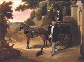Two gentleman with their trap in a wooded landscape