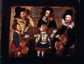 Musicians at Wadley House, detail from The Life and Death of Sir Henry Unton (1557-96)