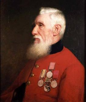 Portrait of a Chelsea Pensioner wearing his service medals