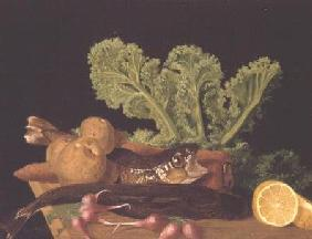 Still life of vegetables and fish