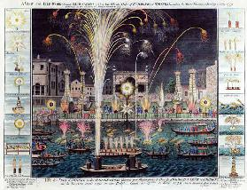 A View of the Fireworks and Illuminations at his grace the Duke of Richmond''s at Whitehall and on t