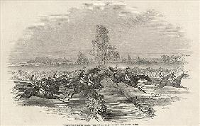Worchester Steeple Chase: The Water Leap opposite the Grand Stand, from ''The Illustrated London New