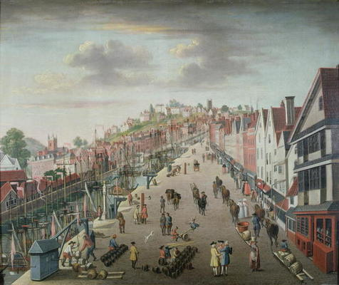 Bristol Docks And Quay C 1760 Oil On C English School