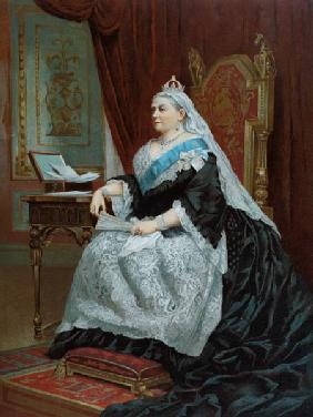 Portrait of Queen Victoria (1819-1901) at the time of her Golden Jubilee in 1887, 1887 (colour litho