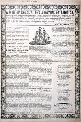 A Man of Colour, and a Native of Jamaica, February 1843 (letterpress broadside with wood engraved vi