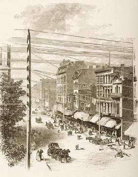 Clark Street, Chicago, in c.1870, from 'American Pictures' published by the Religious Tract Society,