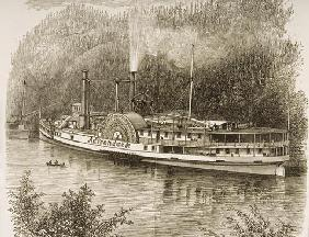 Excursion steamer on the Hudson River, in c.1870, from 'American Pictures' published by the Religiou