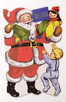 Father Christmas, Victorian Christmas card (colour litho)