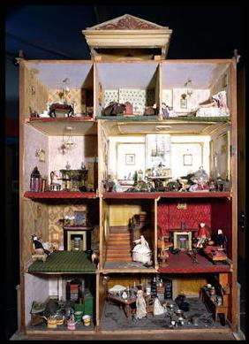 Interior of doll's town house, 1840 (mixed media)