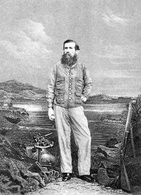 Portrait of John Speke (1827-64) in front of Lake Victoria, frontispiece to 'Journal of the Discover