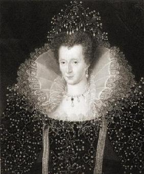 Queen Elizabeth I (1533-1603) from 'Gallery of Portraits', published in 1833 (engraving)