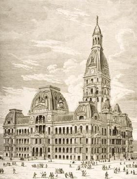 The City Hall, Chicago, c.1870, from 'American Pictures' published by the Religious Tract Society, 1