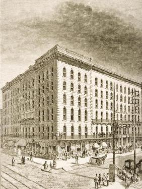 The Sherman Hotel, Chicago, in c.1870, from 'American Pictures' published by the Religious Tract Soc