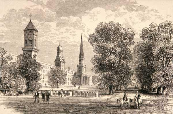 Yale College, New Haven, in c.1870, from 'American Pictures' published by the Religious Tract Societ