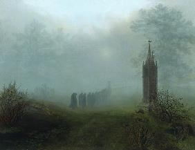 Oehme, Ernst Ferdinand : Procession in the fog