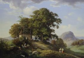 Oehme, Ernst Ferdinand : Mountainous landscape with...