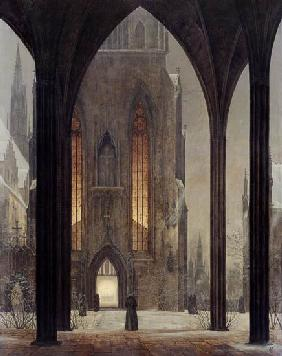Oehme, Ernst Ferdinand : Cathedral in winter