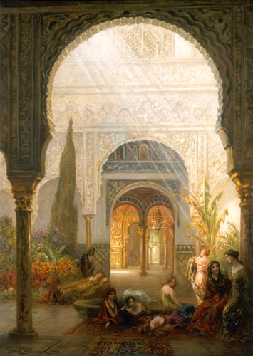 Karl Körner the patio de of la reina in the alcazar ernst karl eugen körner as print or painted