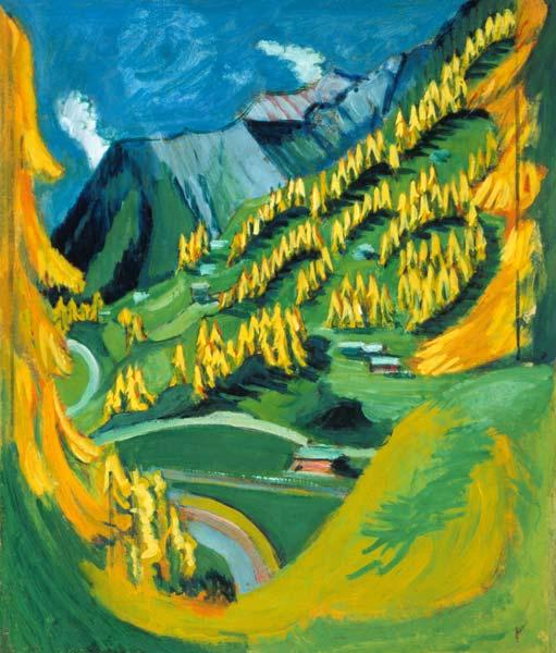 Mountain slope with yellow trees