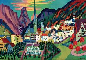 View of Davos with Church (Davos in Summer)