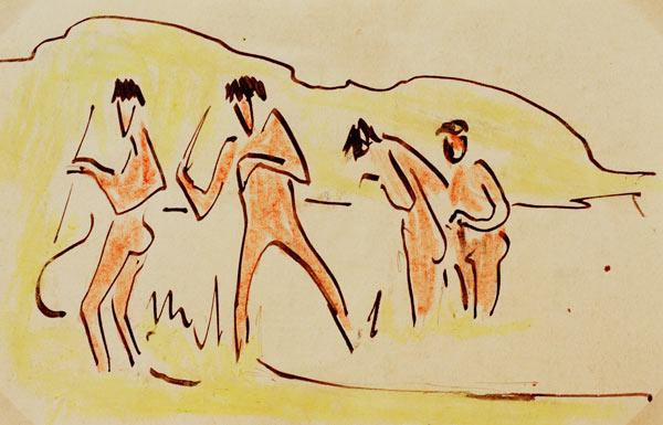 Throwing reeds with bathers