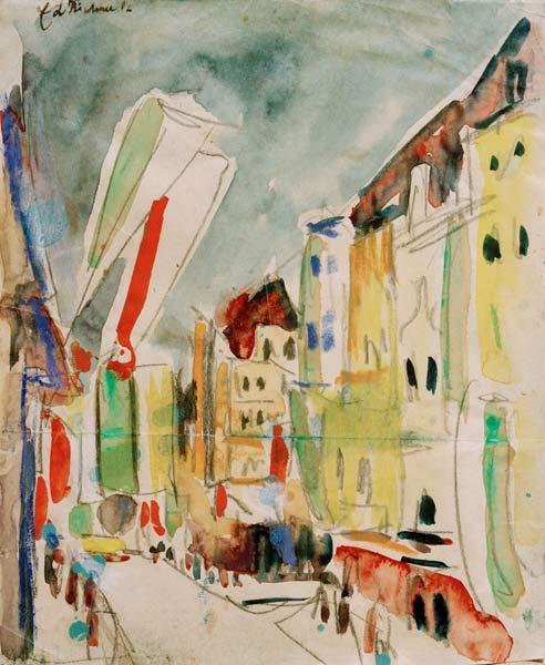 Street scene with flags