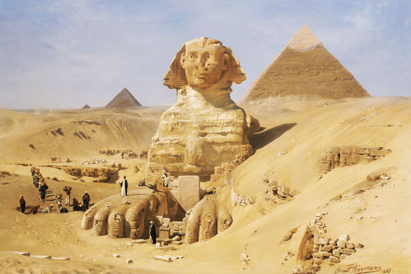 Karl Körner excavation of the sphinx as print or painted