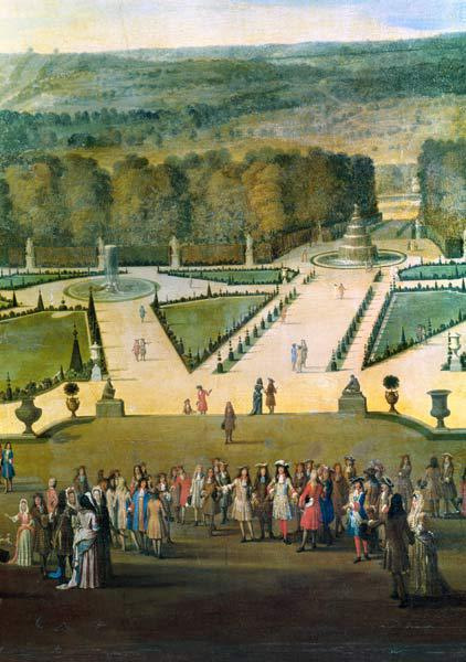 Promenade of Louis XIV by the Parterre du Nord, detail of Louis and his entourage