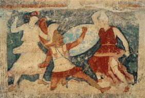 Two Amazons in combat with...
