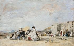 Boudin, Eug�ne : Lady in white on the beach...