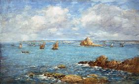 Douarnenez, sea bay with ships