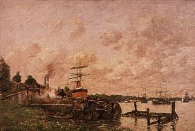 Boudin, Eug�ne : Riverside with port and th...