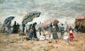Boudin, Eug�ne : Parasols on the Beach, Tro...