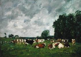 Boudin, Eug�ne : Pasture in Fervaques or, C...