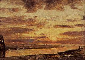 Boudin, Eug�ne : Sunset over the sea at Tro...