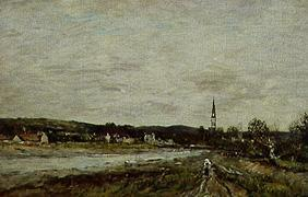 Boudin, Eug�ne : Town at a river.