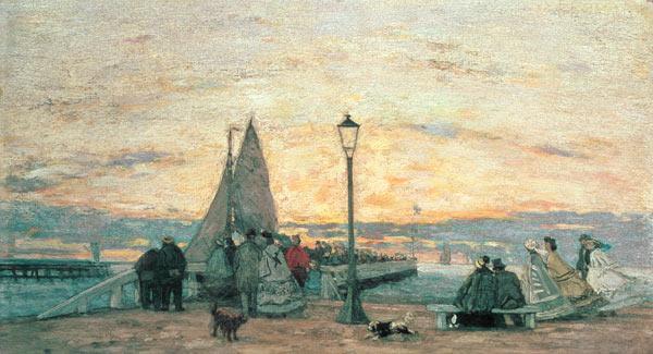 Boudin, Eug�ne : The Jetty at Trouville: Su...