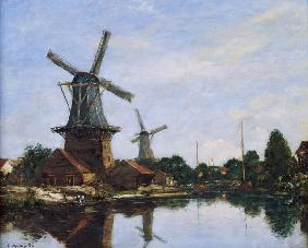 Boudin, Eug�ne : Dutch Windmills, 1884 (oil...
