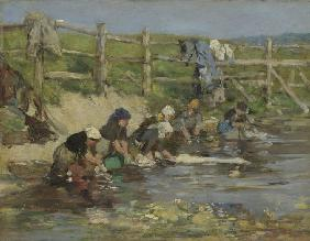 Boudin, Eug�ne : Laundresses by a Stream