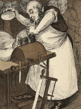 A coroner examining the head of a corpse, illustration from ''L''assiette au Beurre: Les Fonctionnai